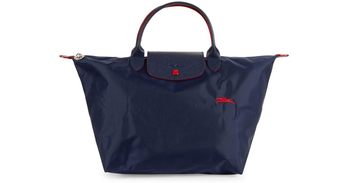 551b51763a Longchamp Le Pliage Club Logo Leather-trimmed Tote in Blue - Lyst