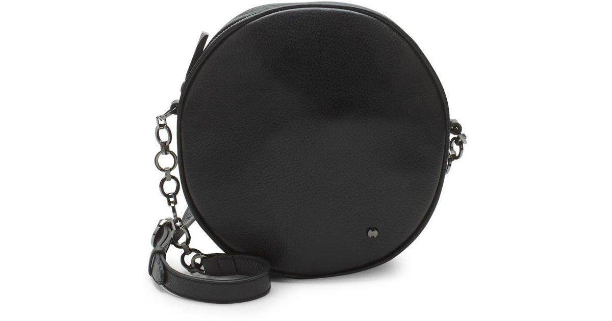 096a361487 Lyst - Halston Leather Circle Shoulder Bag in Black