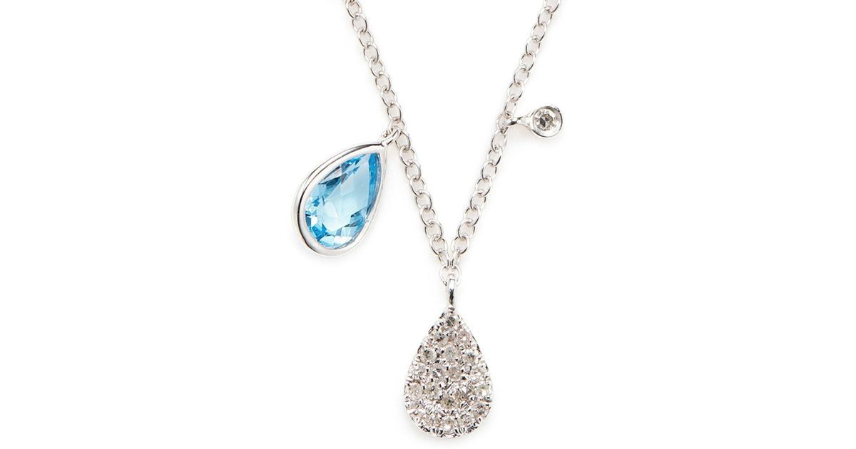 Lyst meira t blue sapphire diamond and 14k white gold pendant lyst meira t blue sapphire diamond and 14k white gold pendant necklace in white aloadofball Image collections