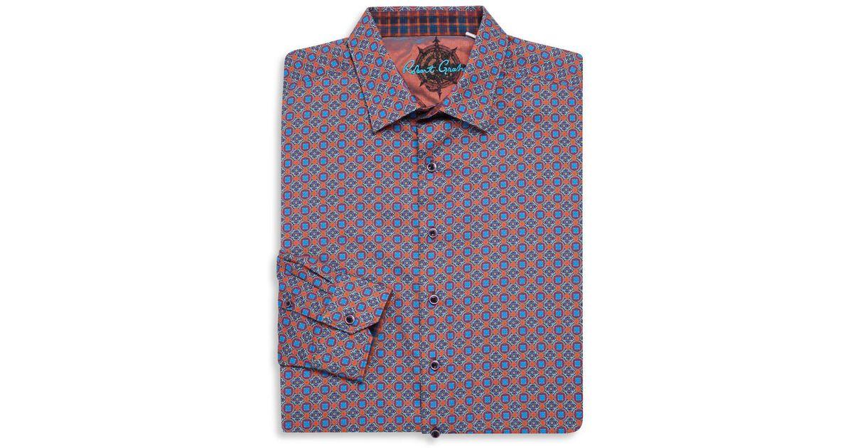 Robert Graham Mens Long Sleeve Finchley Geometric Classic Fit Shirt