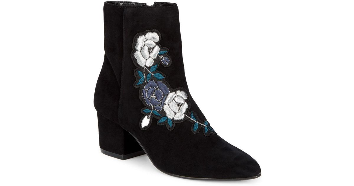 f736ddbd055 Lyst - Steven by Steve Madden Brooker Suede Embroidered Ankle Boots in Black  - Save 35%