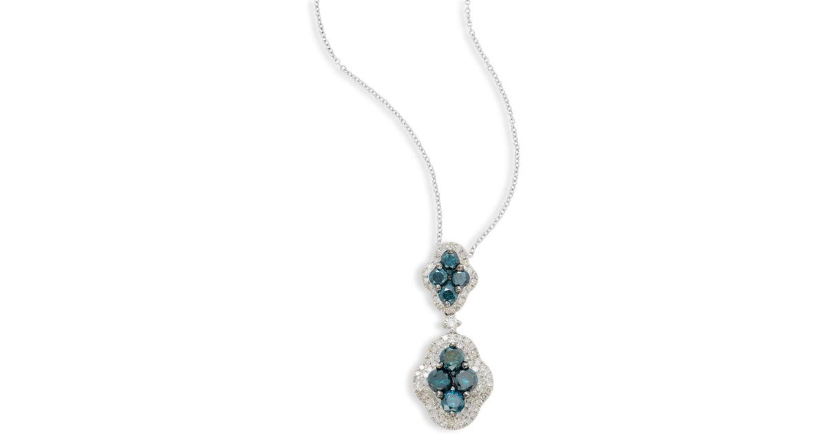 gold stone blue necklace tw p pendant diamond carat three white