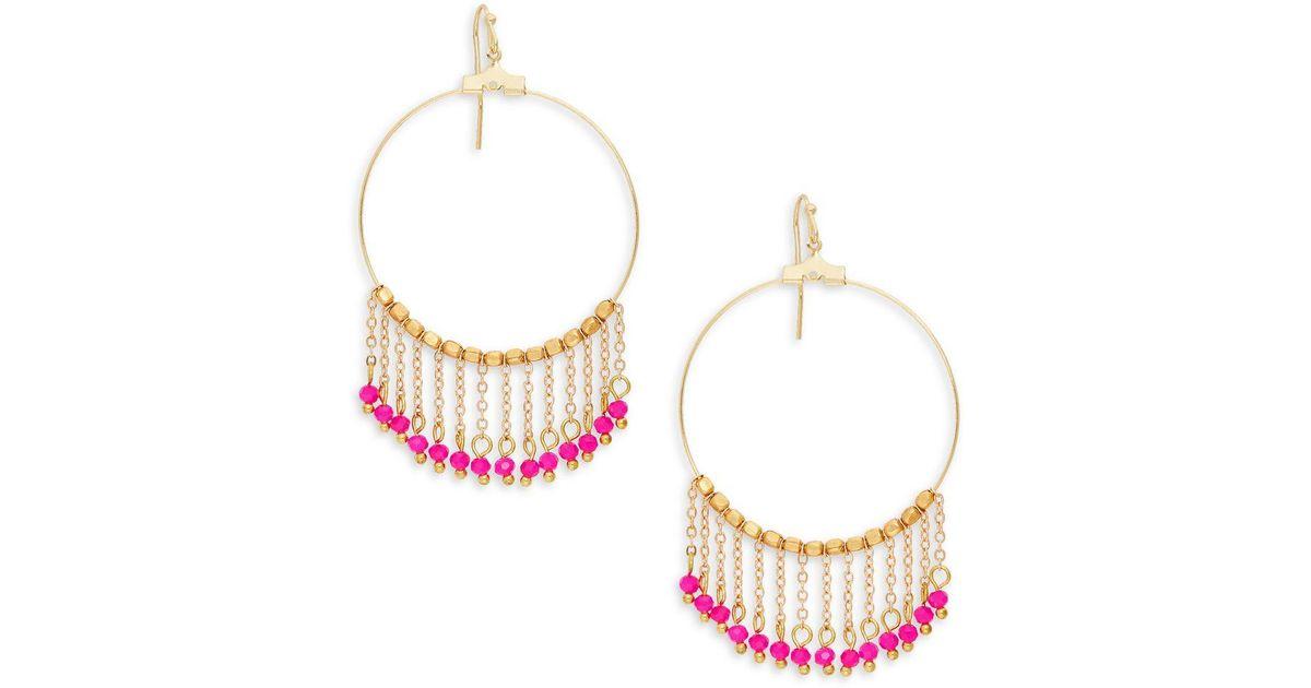 48eb16e1039 Lyst - Panacea Goldplated Crystal Chain Tassel Hoop Earrings in Pink