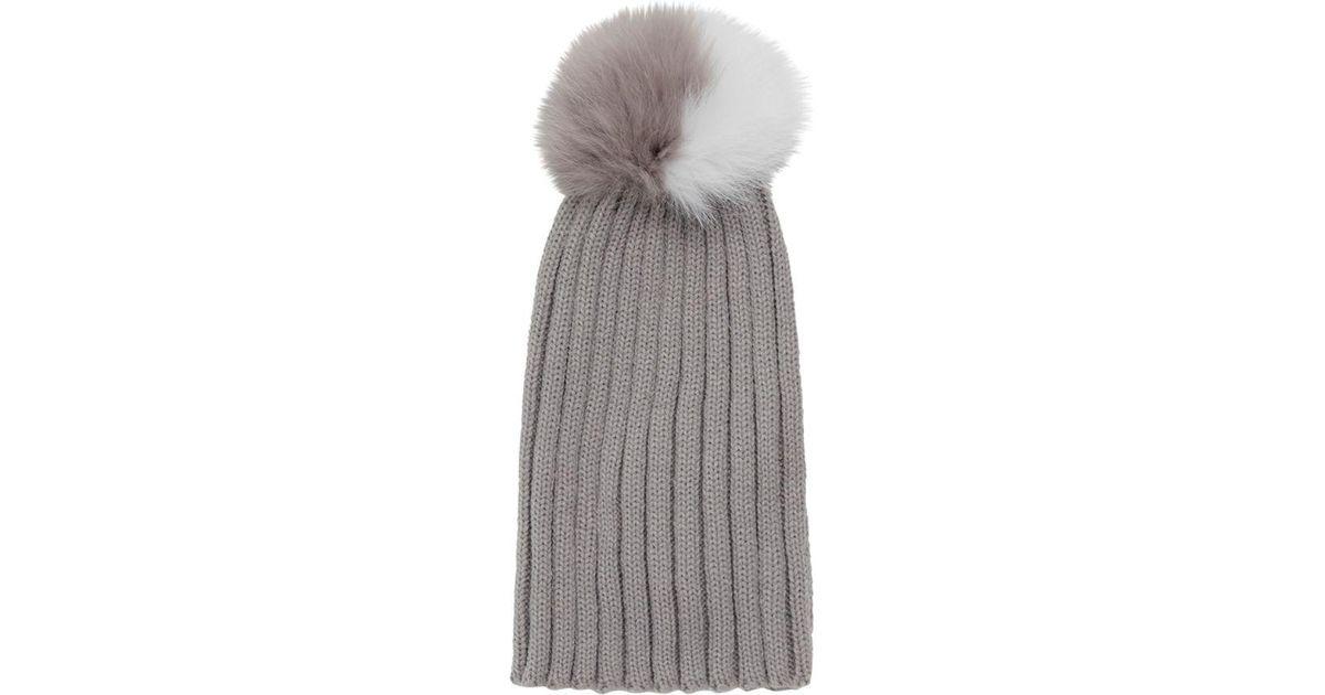 Lyst - Adrienne Landau Dyed Fox Fur Pom Pom Hat in Gray 646ef734ade0