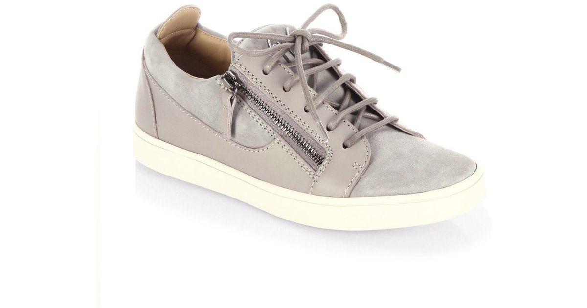 9404a20280dc2 Giuseppe Zanotti Breks Suede Side-zip Sneakers in Gray - Lyst