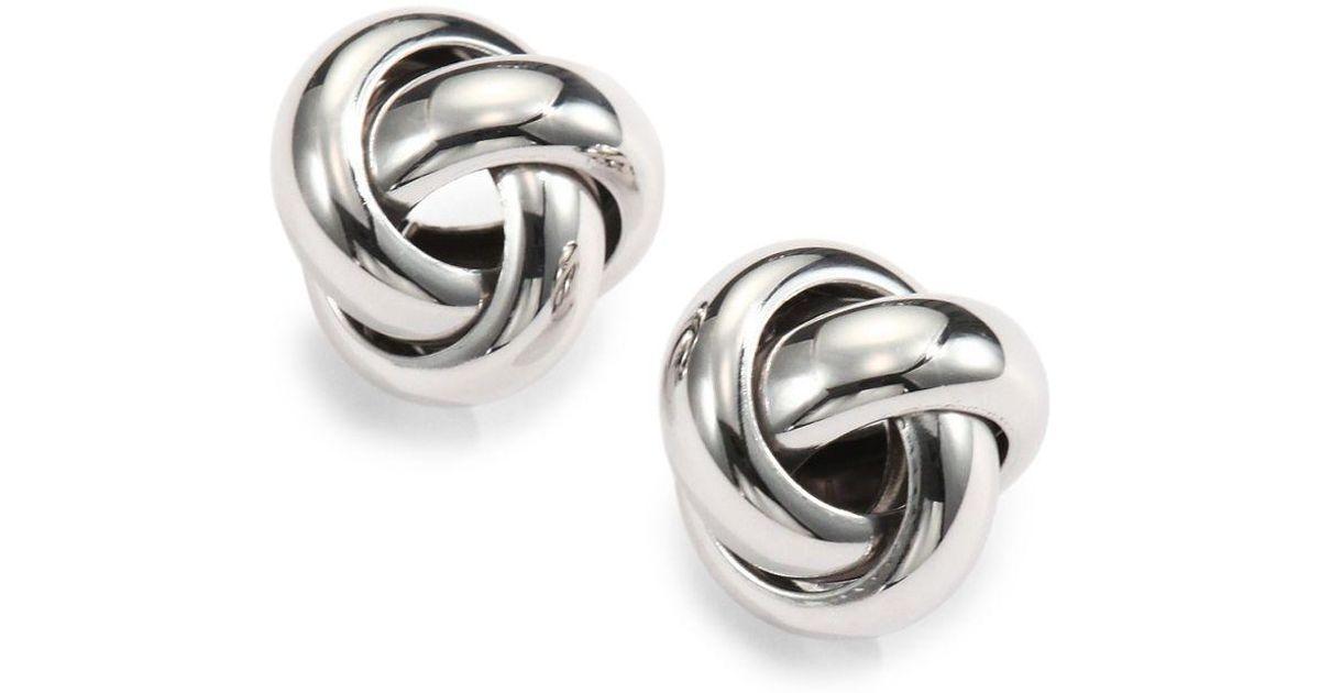 ca882539642922 Saks Fifth Avenue Sterling Silver Knot Stud Earrings In Metallic