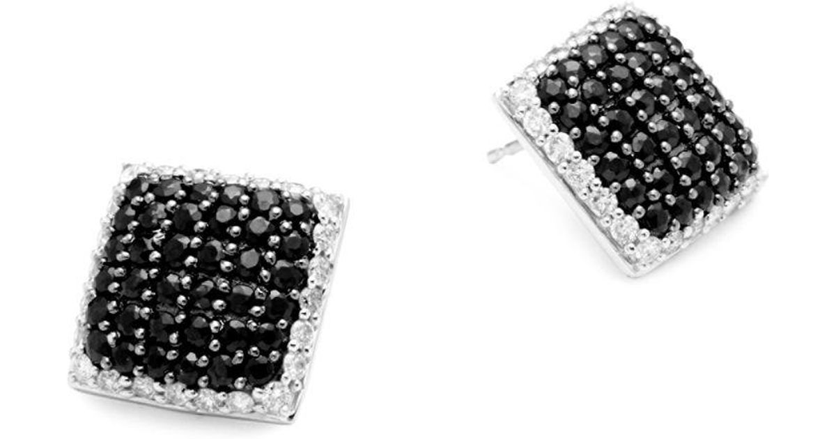 Lyst Effy Diamond Black Shire And 14k White Gold Square Stud Earrings In