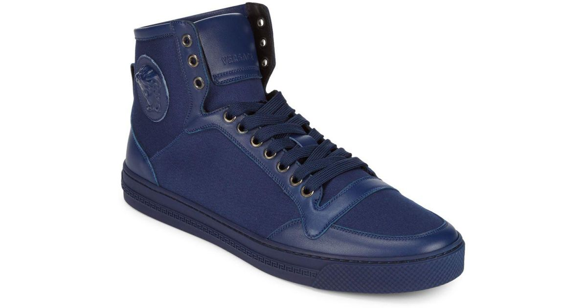 67a7f28be Lyst - Versace Medieval High-top Sneakers in Blue for Men