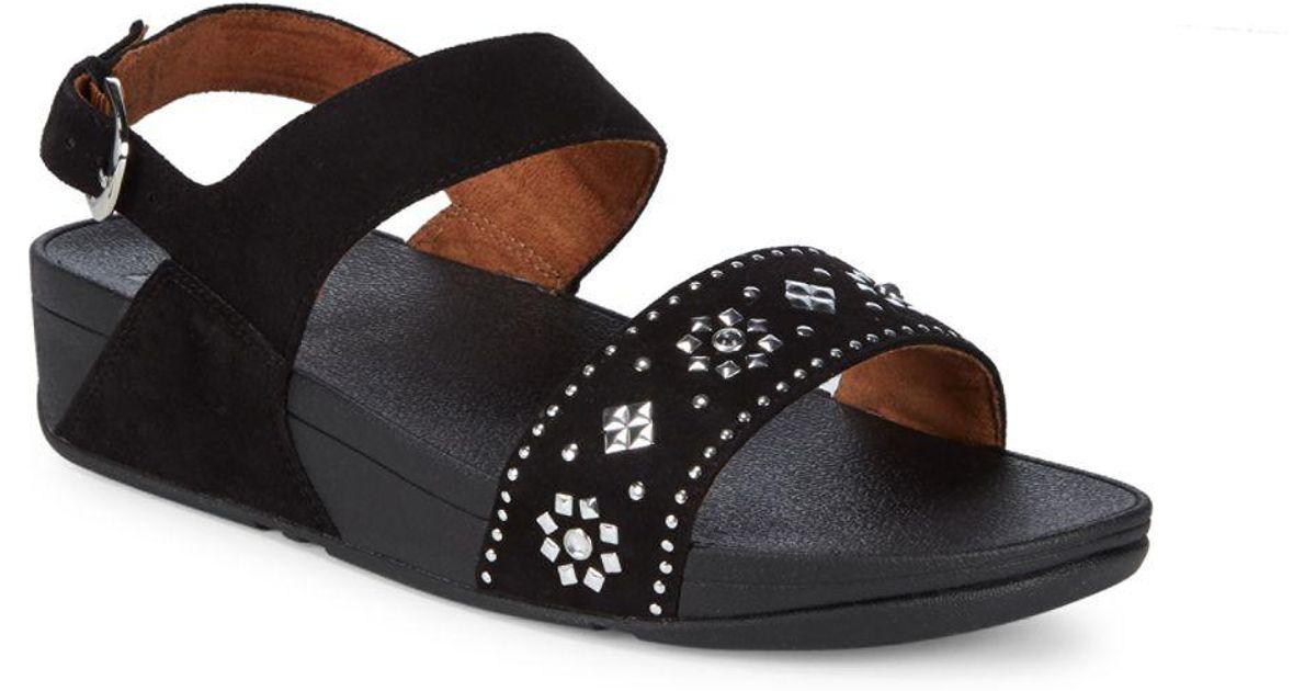 a72b283027fd6 Lyst - Fitflop Lulu Aztek Stud Leather Sandals in Black