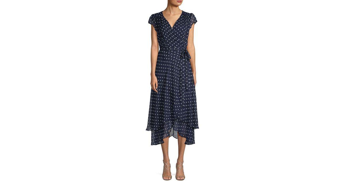 6852e0f16a5e ABS By Allen Schwartz Polka Dot Midi Dress in Blue - Lyst