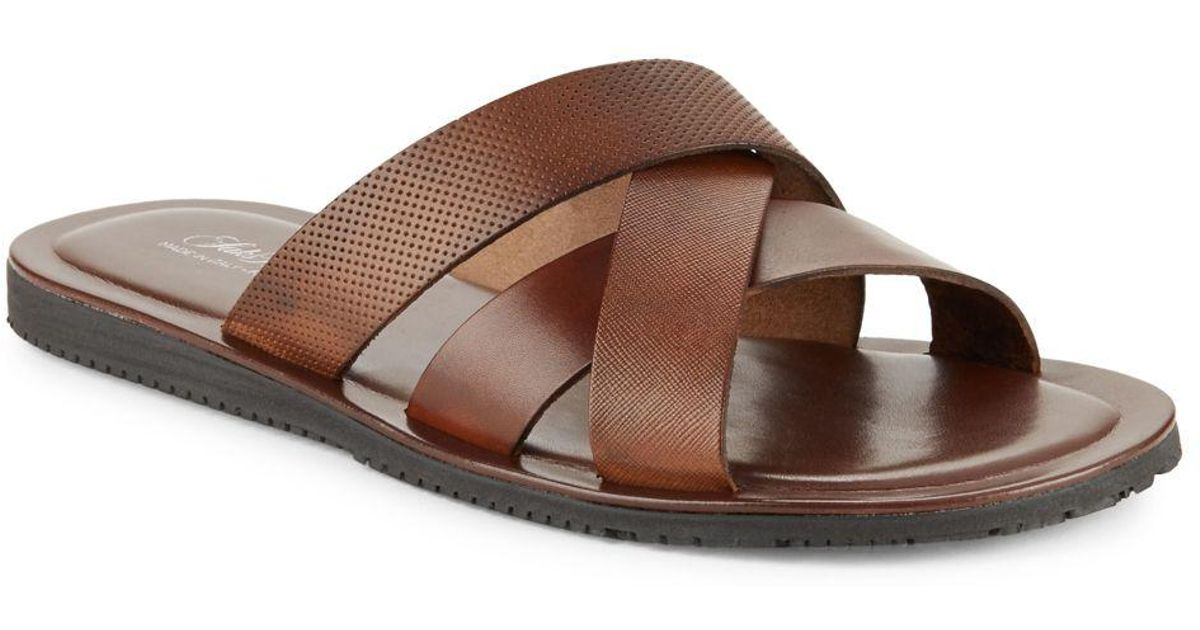 dfc44d8409d60a Lyst - Saks Fifth Avenue Italian Leather Sandals in Brown for Men