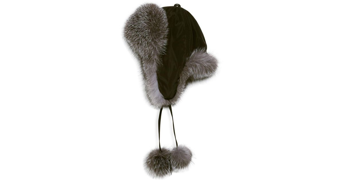 29c64154b2d38 Lyst - Surell Dyed Fox Fur Trapper Hat in Black