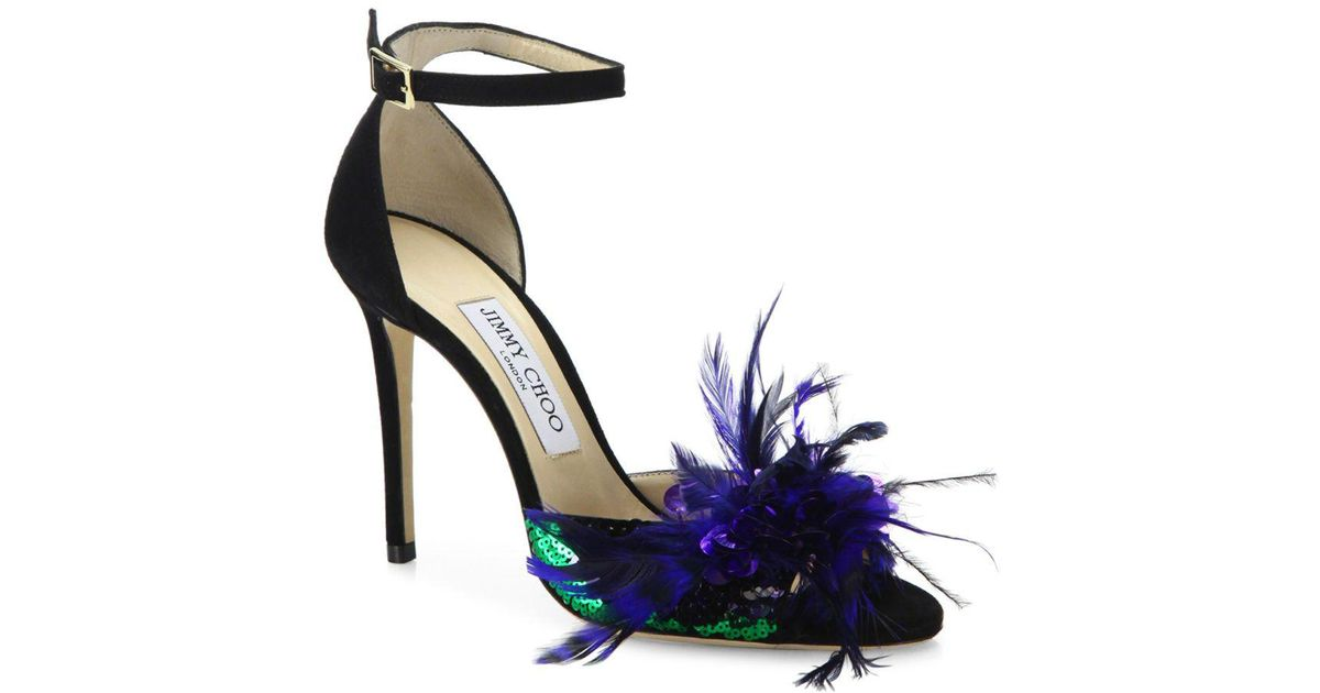 80d38c269b81 Lyst - Jimmy Choo Annie Sequin   Feather-embellished Suede Ankle-strap  Sandals in Blue