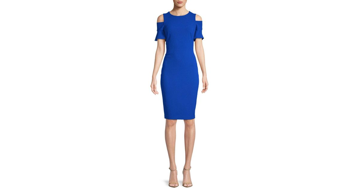 8aba6ffd Calvin Klein Cold-shoulder Dress in Blue - Lyst