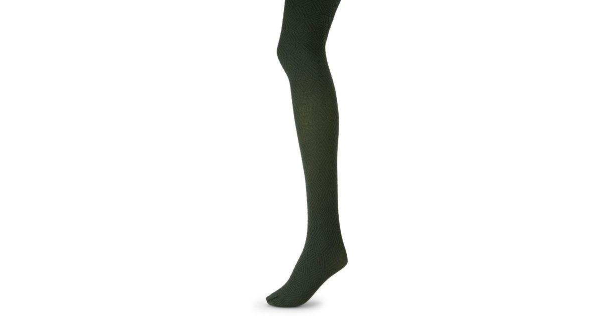 94b4f6ad414 Lyst - Hue Diamond-textured Tights in Green