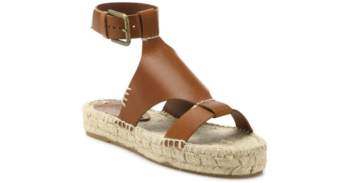 f9d768846150 Lyst - Soludos Banded Shield Leather Flatform Espadrilles in Brown