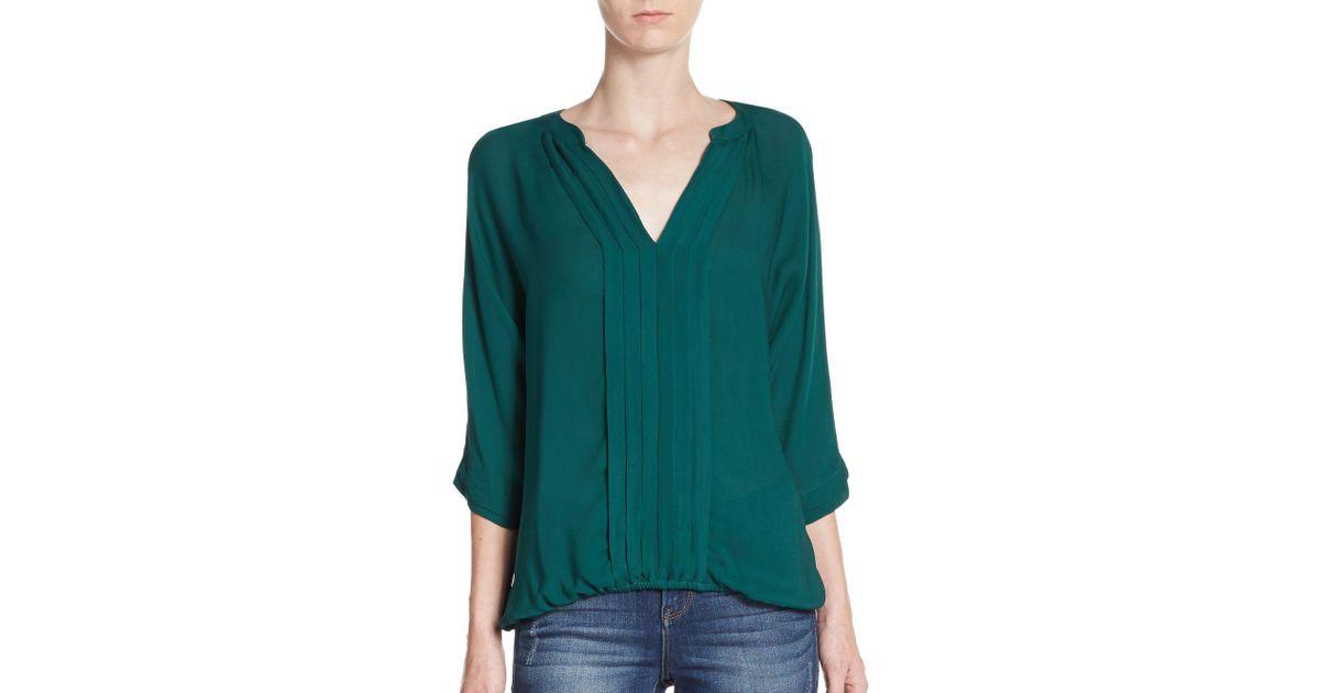 9262e0e151 Joie Marru Silk Pleated Blouse in Green - Lyst