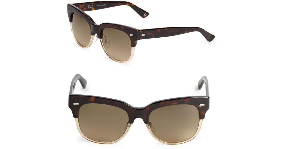 3126d1ced97 Lyst - Gucci Two-tone 52mm Clubmaster Sunglasses in Brown