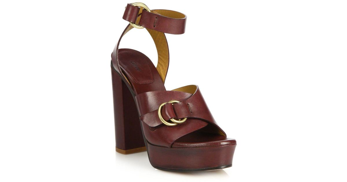 f171f1b5246 Lyst - Chloé Kingsley Platform Leather Sandals in Brown