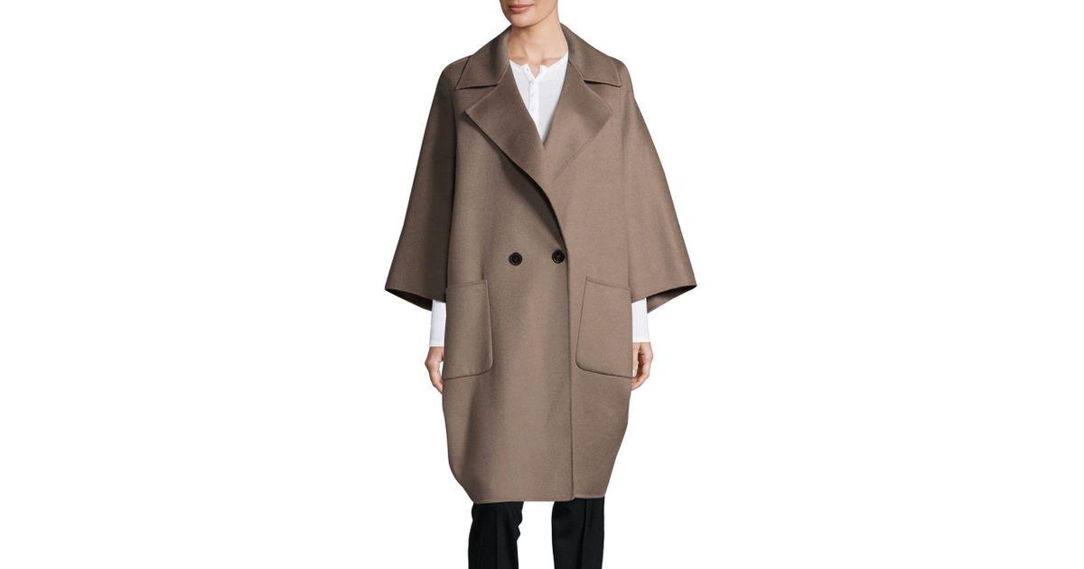 e59dfd750 Marina Rinaldi Taso Oversized Double-face Wool Coat in Brown - Lyst