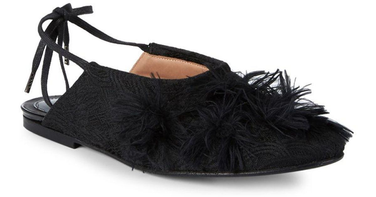e04f3239c5 Lyst - Dries Van Noten Feather Trimmed Mules in Black