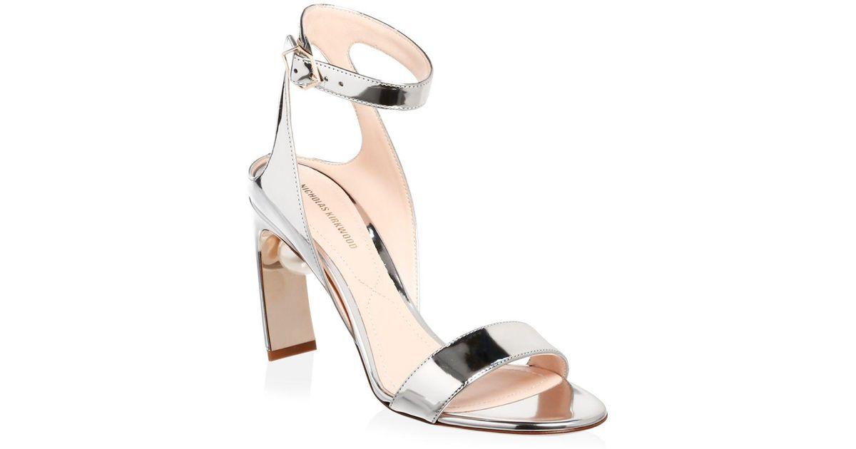 f1b8d8b1539 Lyst - Nicholas Kirkwood Lola Metallic Leather Pearl Ankle-strap Sandals in  Metallic