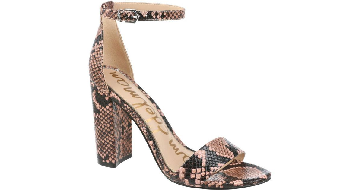 780e5f70a34 Lyst - Sam Edelman Orient Express Yaro Snake Print Leather Ankle-strap  Sandals
