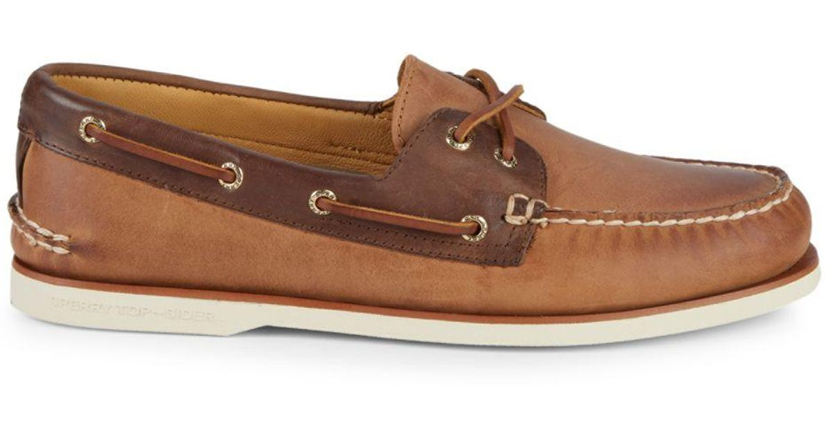 9787edc8aa Lyst - Sperry Top-Sider Gold Cup Authentic Original Leather Boat Shoes in  Brown for Men