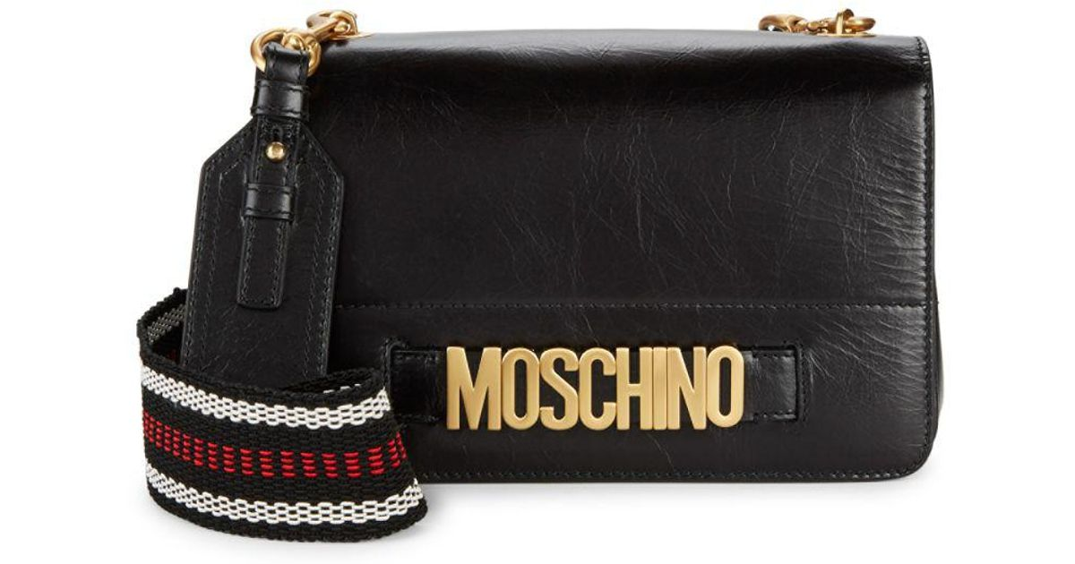 8f9f935ecb Moschino Textured Flap Leather Mini Bag in Black - Lyst