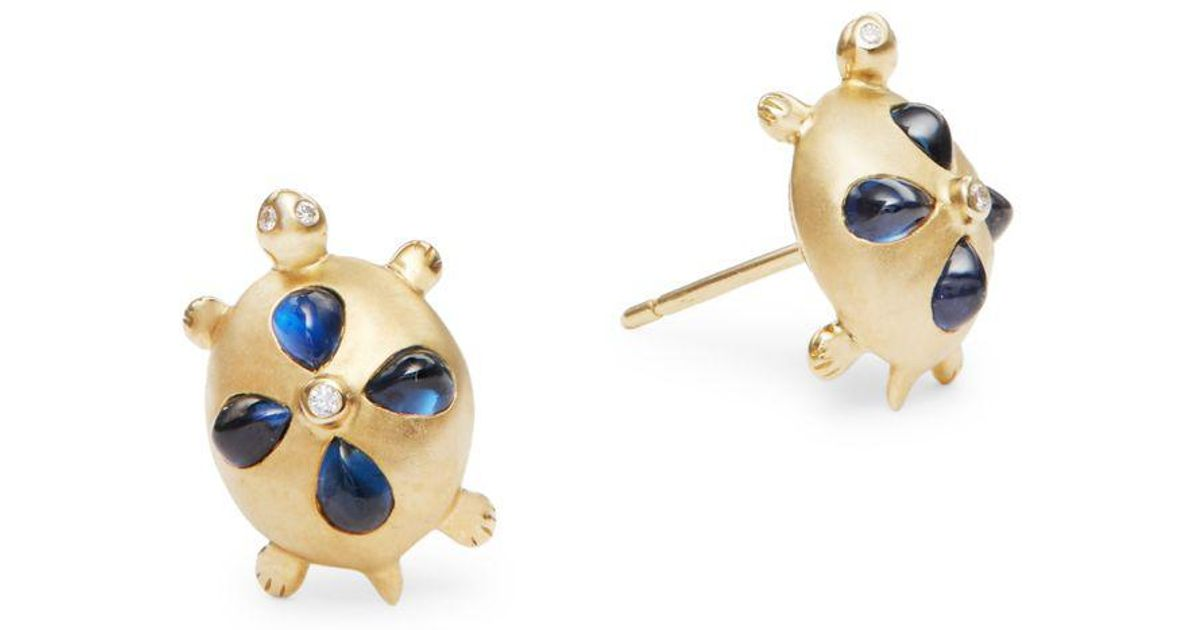 Lyst Temple St Clair 18k Yellow Gold Diamond Turtle Stud Earrings In Metallic