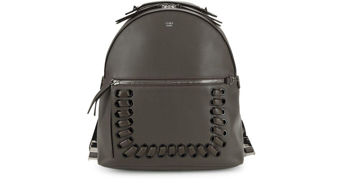 cdd0c282f149 Lyst - Fendi Leather Backpack in Brown