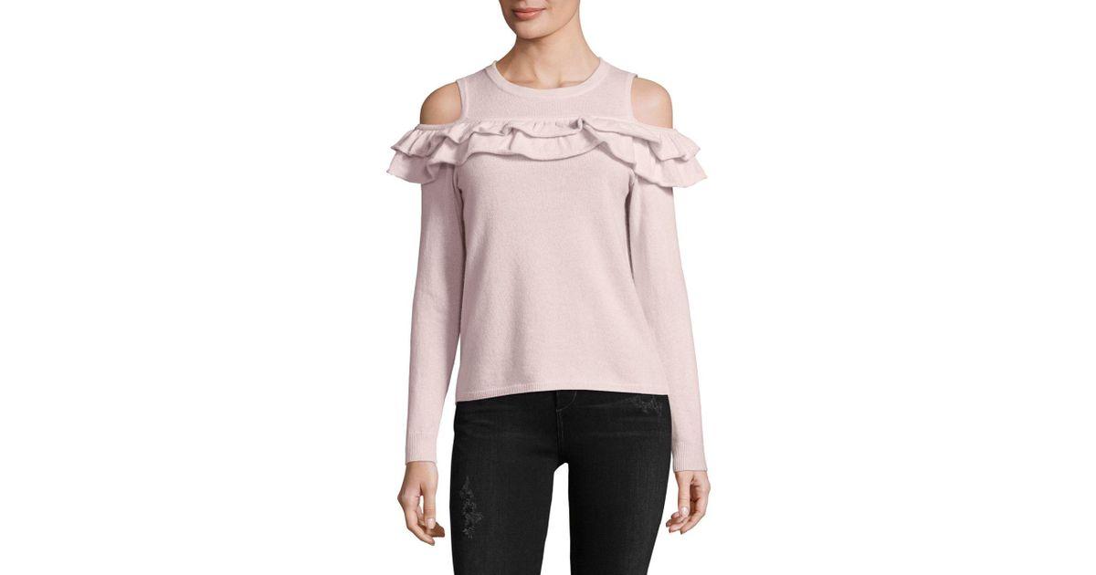 d3d27cf5022ec7 Lyst - Saks Fifth Avenue Ruffled Cashmere Cold Shoulder Top in Pink