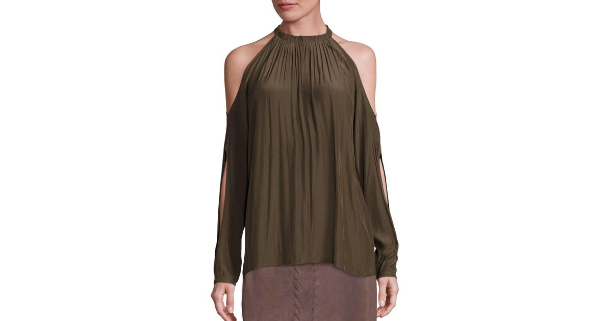 545db90a3f454 Lyst - Ramy Brook Milan Cold Shoulder Top in Green
