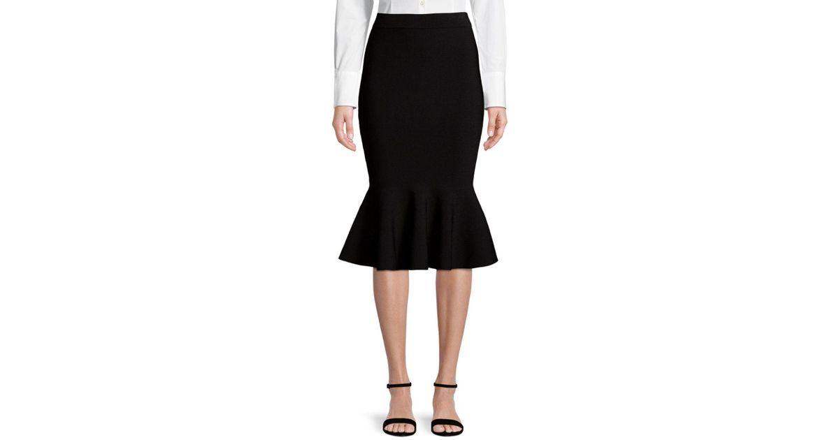 2914907ae468 MILLY Mermaid Hem Skirt in Black - Lyst