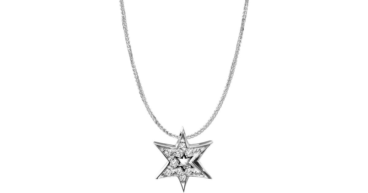 Lyst alex woo 14k white gold star pendant necklace in metallic mozeypictures Image collections