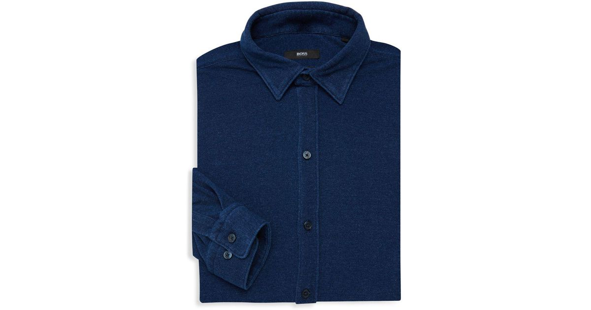 8d184d6b Lyst - BOSS Robbie Sharp-fit Cotton Dress Shirt in Blue for Men
