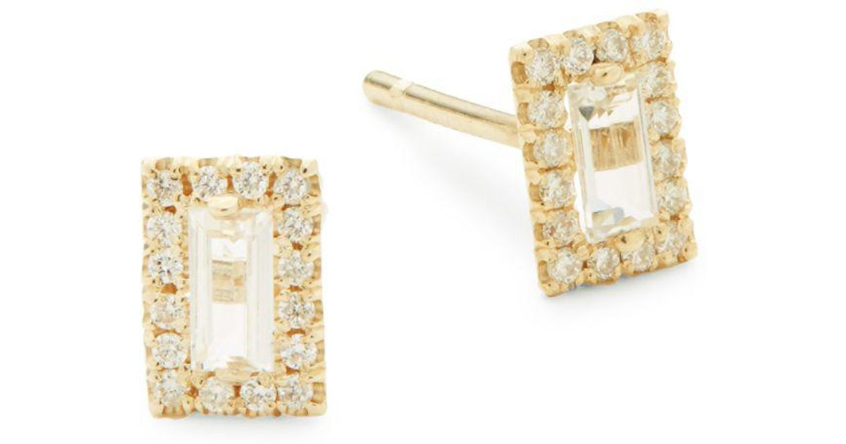 Lyst Suzanne Kalan White Topaz Diamond And 14k Yellow Gold Stud Earrings In Metallic