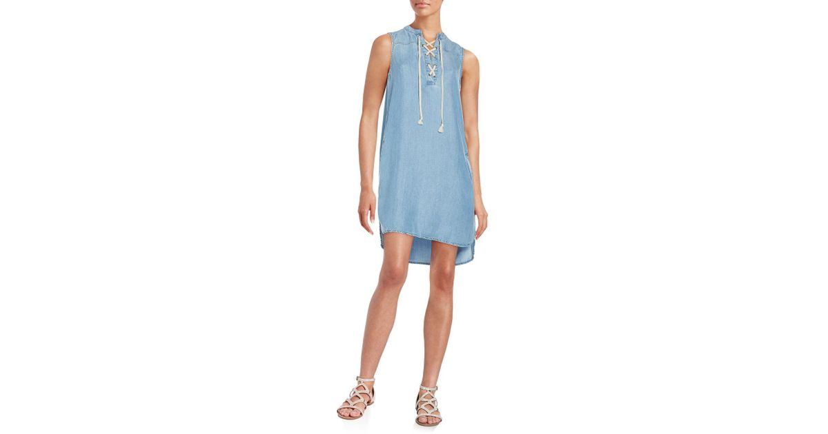 bf4710b278 Lyst - Beach Lunch Lounge Lace-front Sleeveless Chambray Dress in Blue