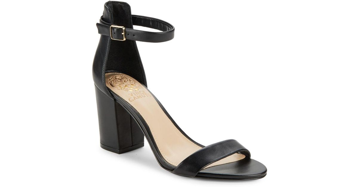 36700b77884 Lyst - Vince Camuto Beah Leather Block Heel Sandals in Black