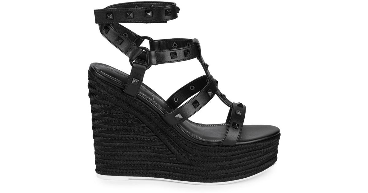 a7914de55fc Lyst - Kendall + Kylie Studded Espadrille Wedges in Black
