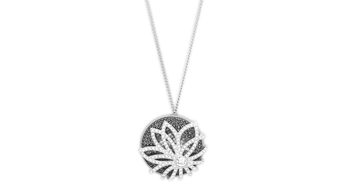 Lyst swarovski round crystal pendant necklace in metallic mozeypictures Gallery
