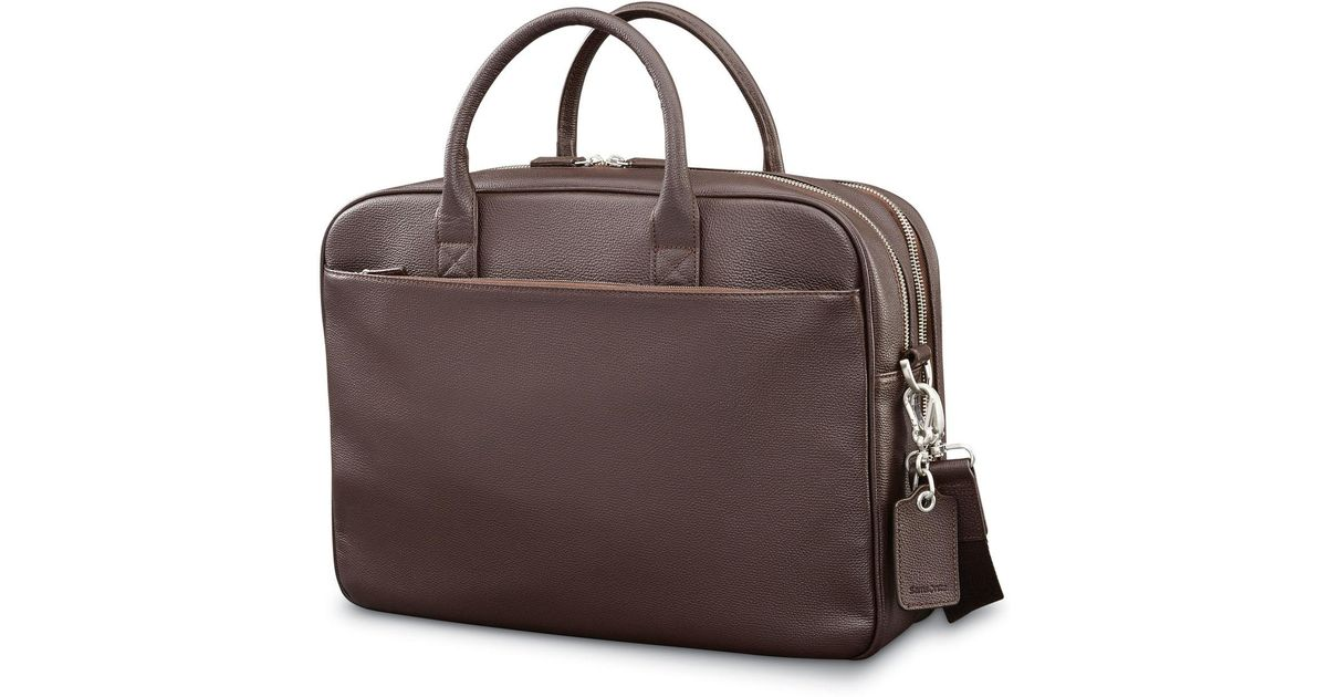 Lyst - Samsonite Mens Leather Classic Double Compartment Briefcase in Brown  for Men 11b6b25a94704