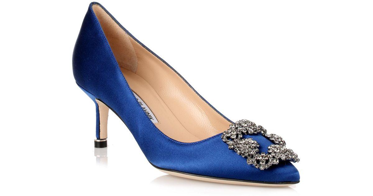 royal blue Hangisi 105 satin pumps Manolo Blahnik 49DlIWHNtS