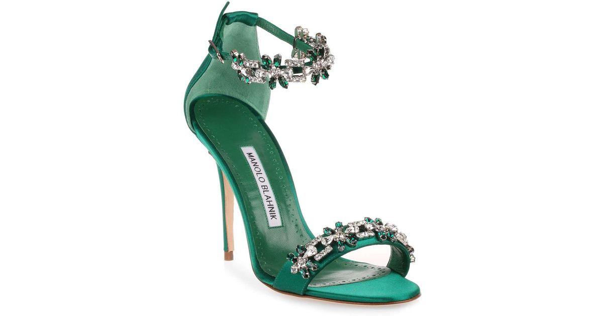 0aafbbb3ea5d Lyst - Manolo Blahnik Firadou 105 Emerald Crystal Sandal Us in Green