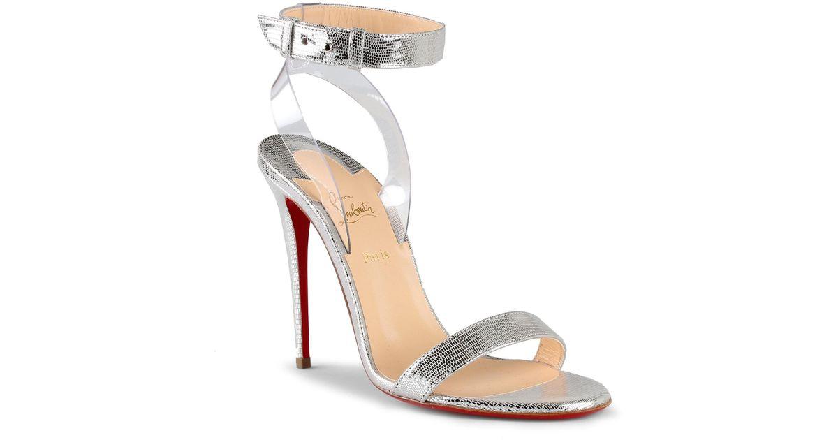 9293633d1e3 Christian Louboutin - Metallic Jonatina 100 Silver Leather Sandals - Lyst