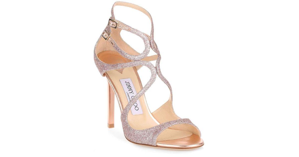 af87cf658b1 Lyst - Jimmy Choo Lang 100 Tea Rose Fine Glitter Sandal Us in Pink