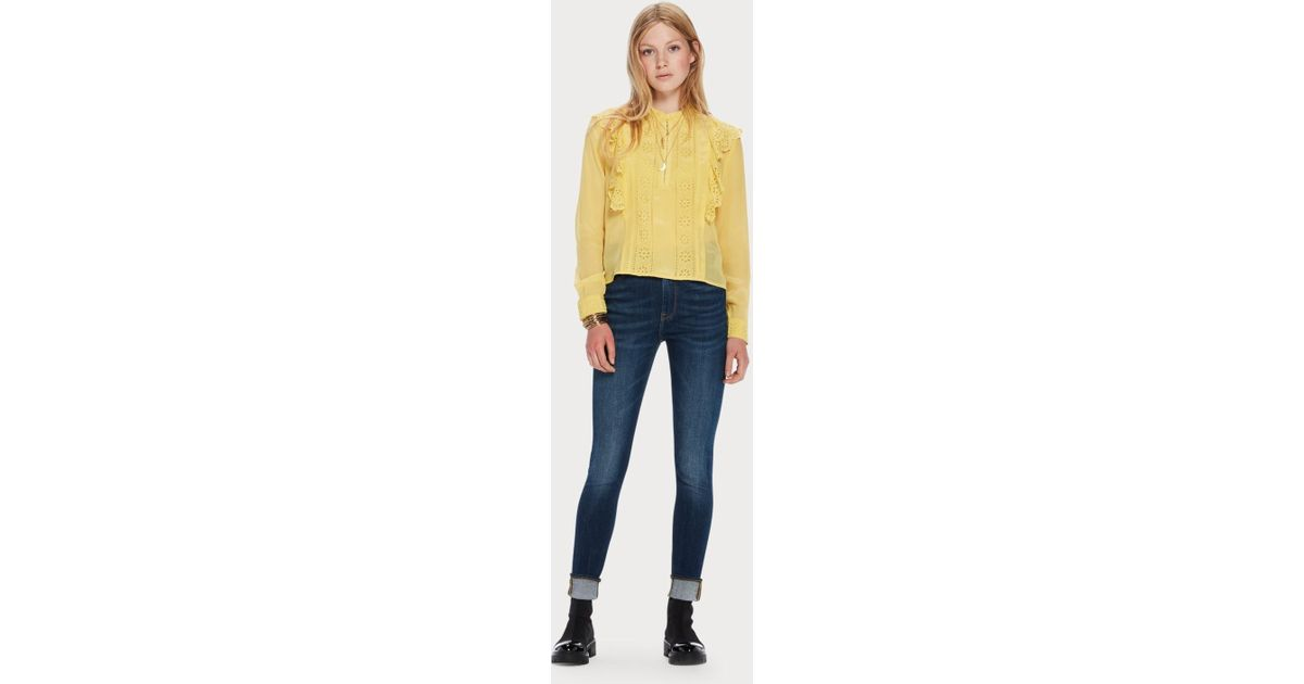 a7df56907fac23 Scotch & Soda Ruffle Embroidered Eyelet Top in Yellow - Lyst