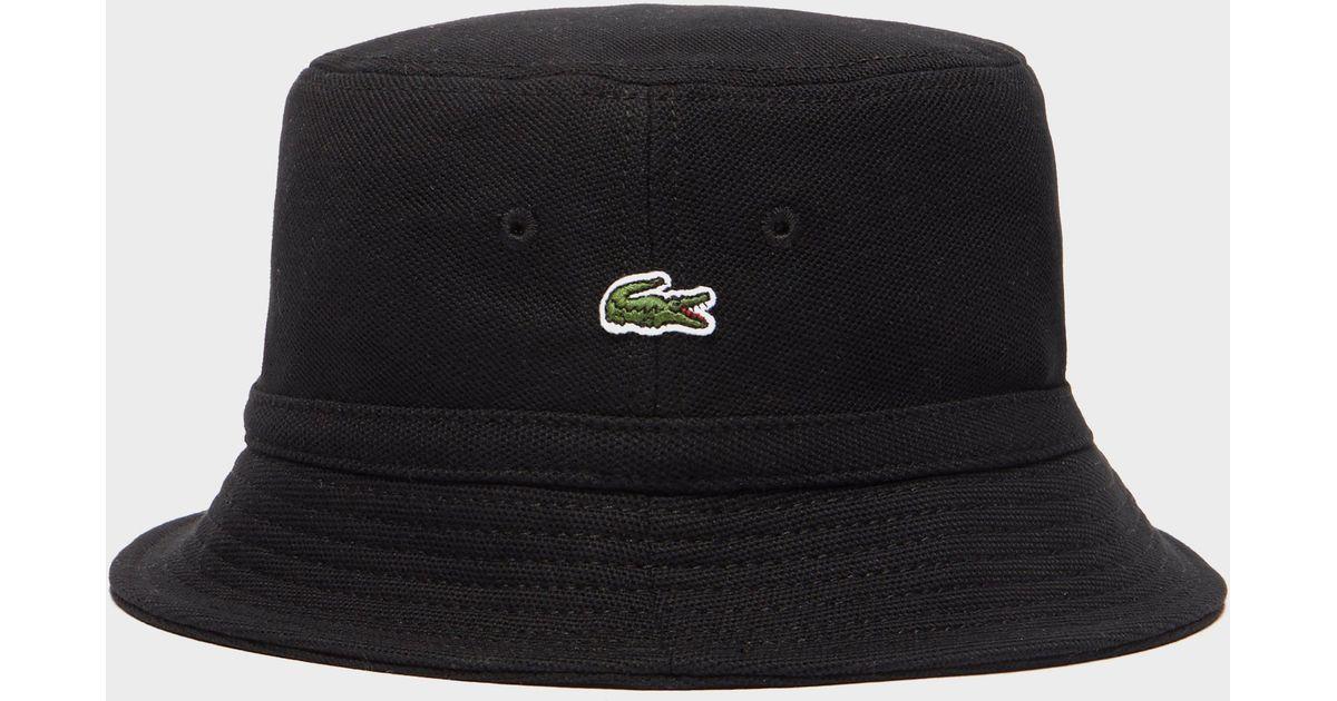 Lyst - Lacoste Pique Bucket Hat in Black for Men aac413e7815