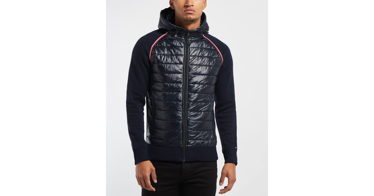 6d33e3e54bc8f3 Tommy Hilfiger Mixed Baffle Full Zip Hoodie in Blue for Men - Lyst