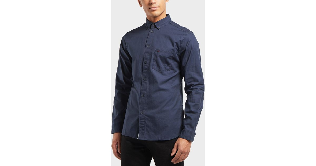 13e711be Tommy Hilfiger Tape Woven Long Sleeve Shirt in Blue for Men - Lyst